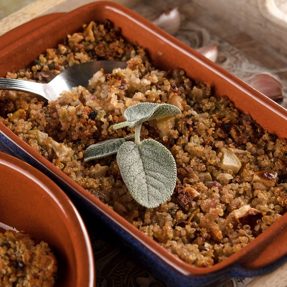 Apple, sage, and onion quinoa stuffing makes a great addition to a roast